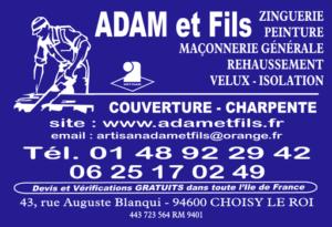 Adam Et Fils Carte Visite Bleu