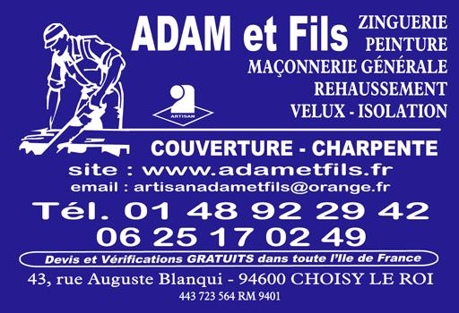 Adam et fils carte de visite